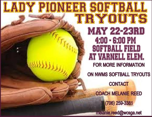 lady pioneer softball tryouts