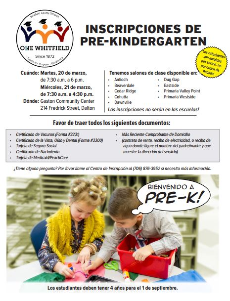 Pre-K Registration Flyer Spanish