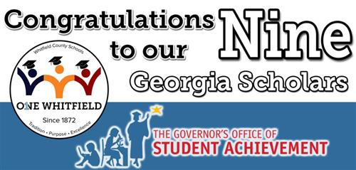 Banner congratulating nine Georgia Scholars from Whitfield County Schools