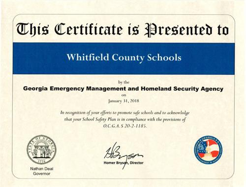GEMA Certificate for Emergency Plan